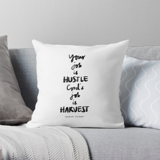 Gift Ideas for Christian Friends Hustle and Harvest Throw Pillow Vivian Yeung