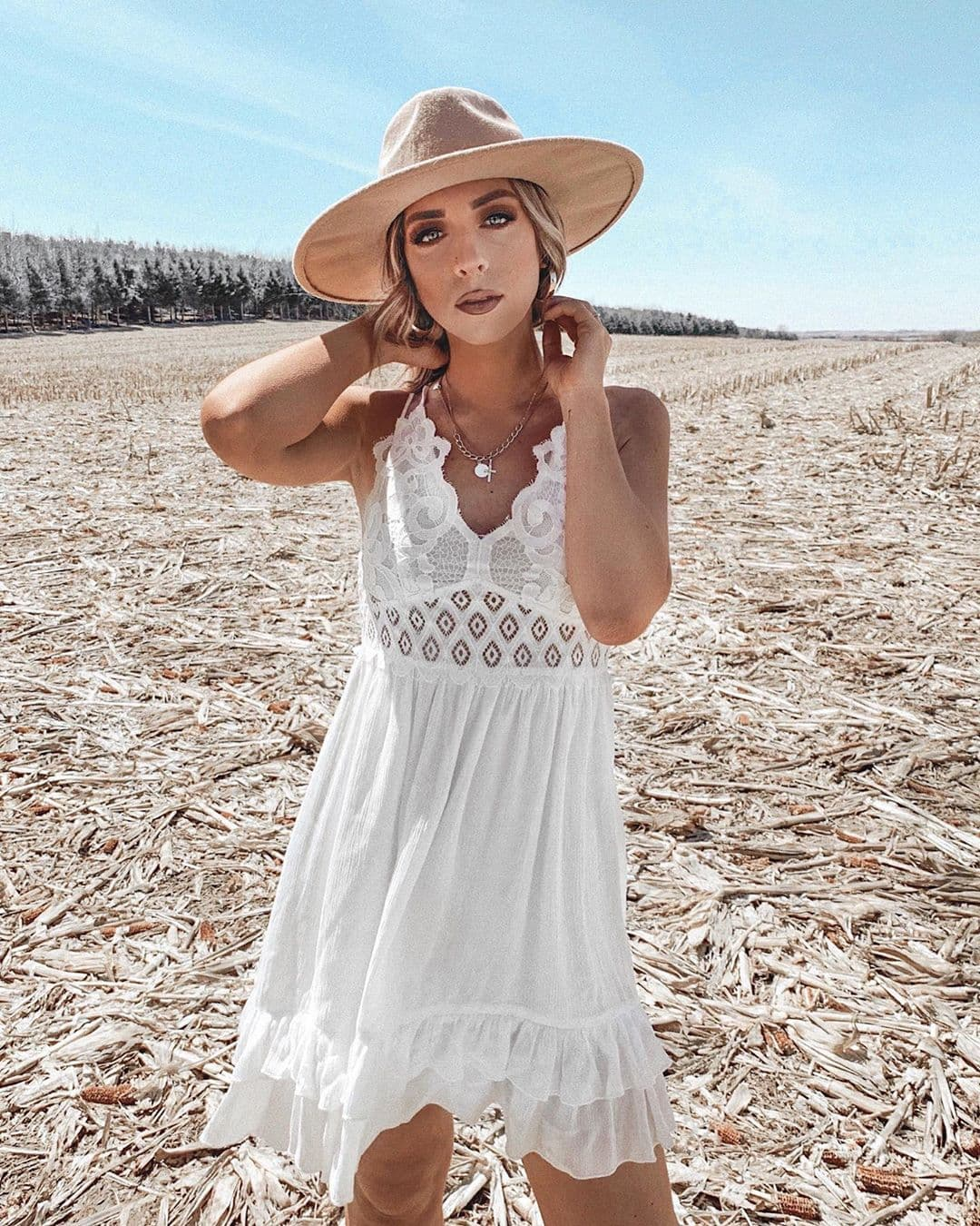 Summer Dresses Sundresses Beach Casual Caged Cami Lace Dress Forever21 Hayley Alaine