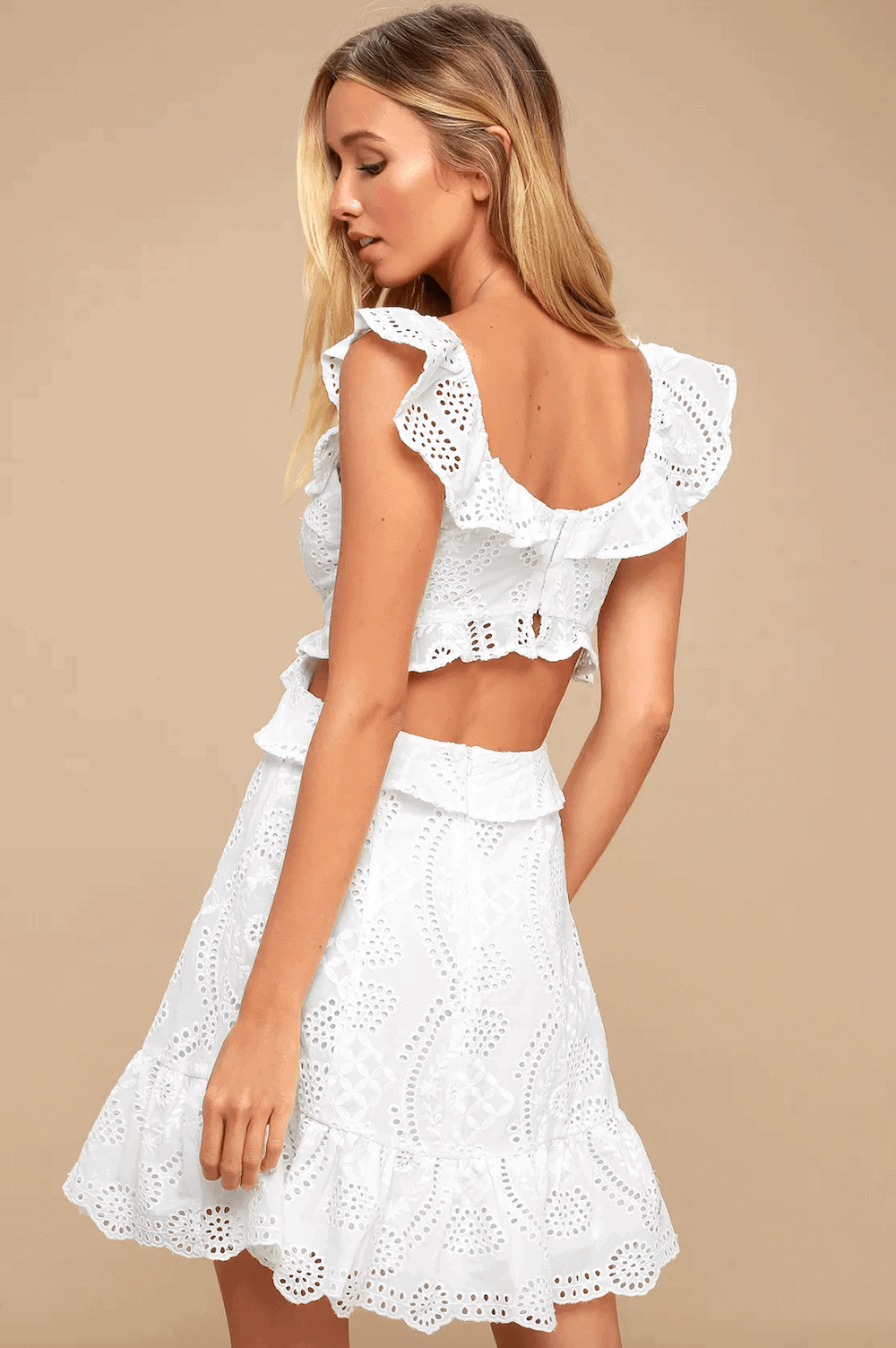 Summer Outfits Sundresses Beach Casual Ivory Eyelet Lace Cutout Skater Dress Lulus 2