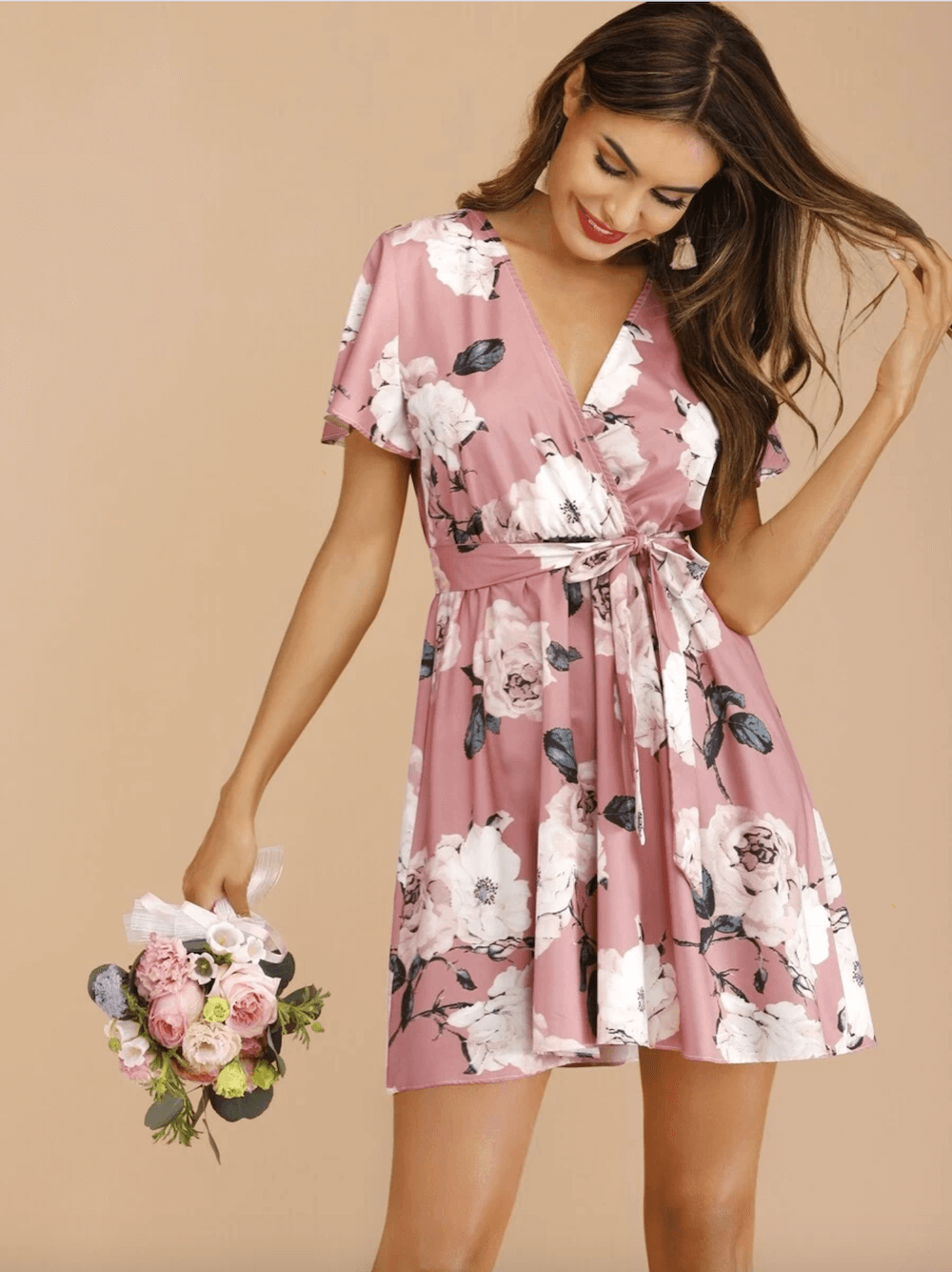 Summer Outfits Sundresses Beach Casual Pink Floral Print Dress Shein