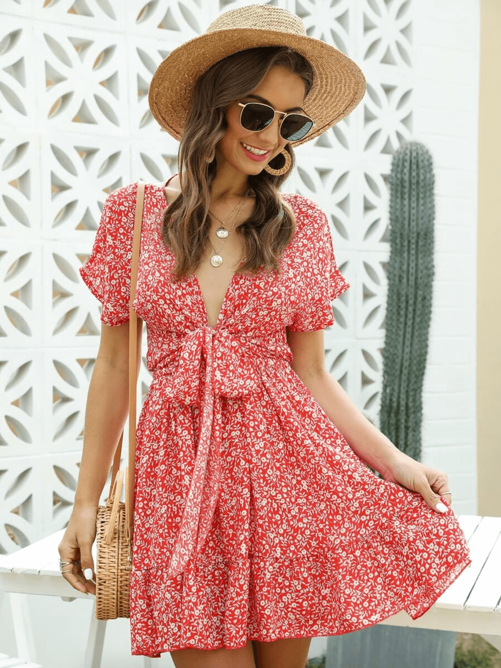 Summer Outfits Sundresses Beach Casual Red Floral Print Dress Shein