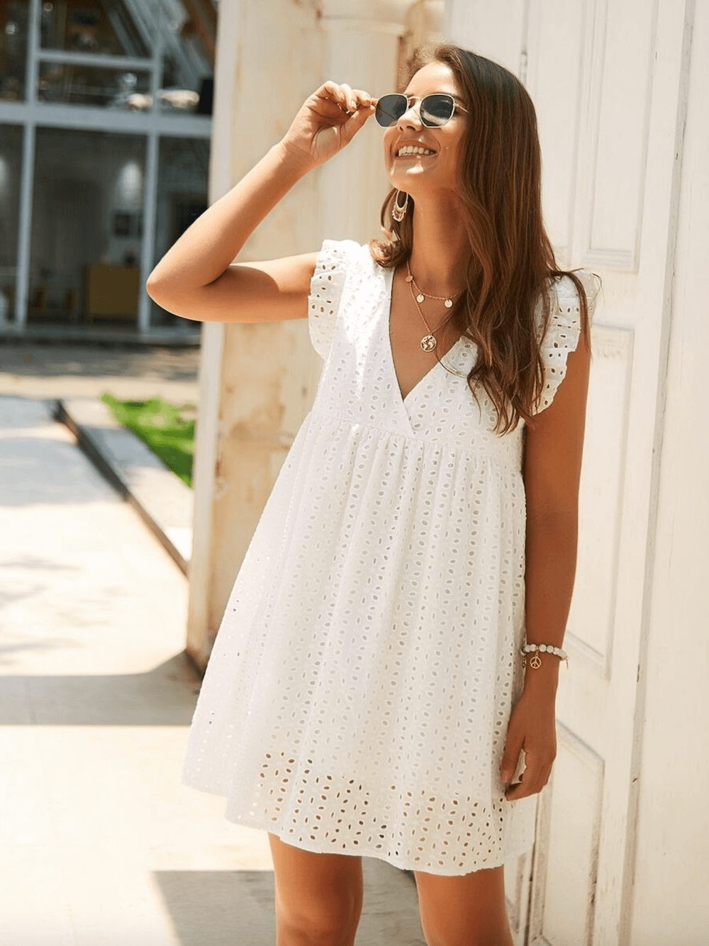 Summer Outfits Sundresses Beach Casual Simple White Embroidery Dress Shein