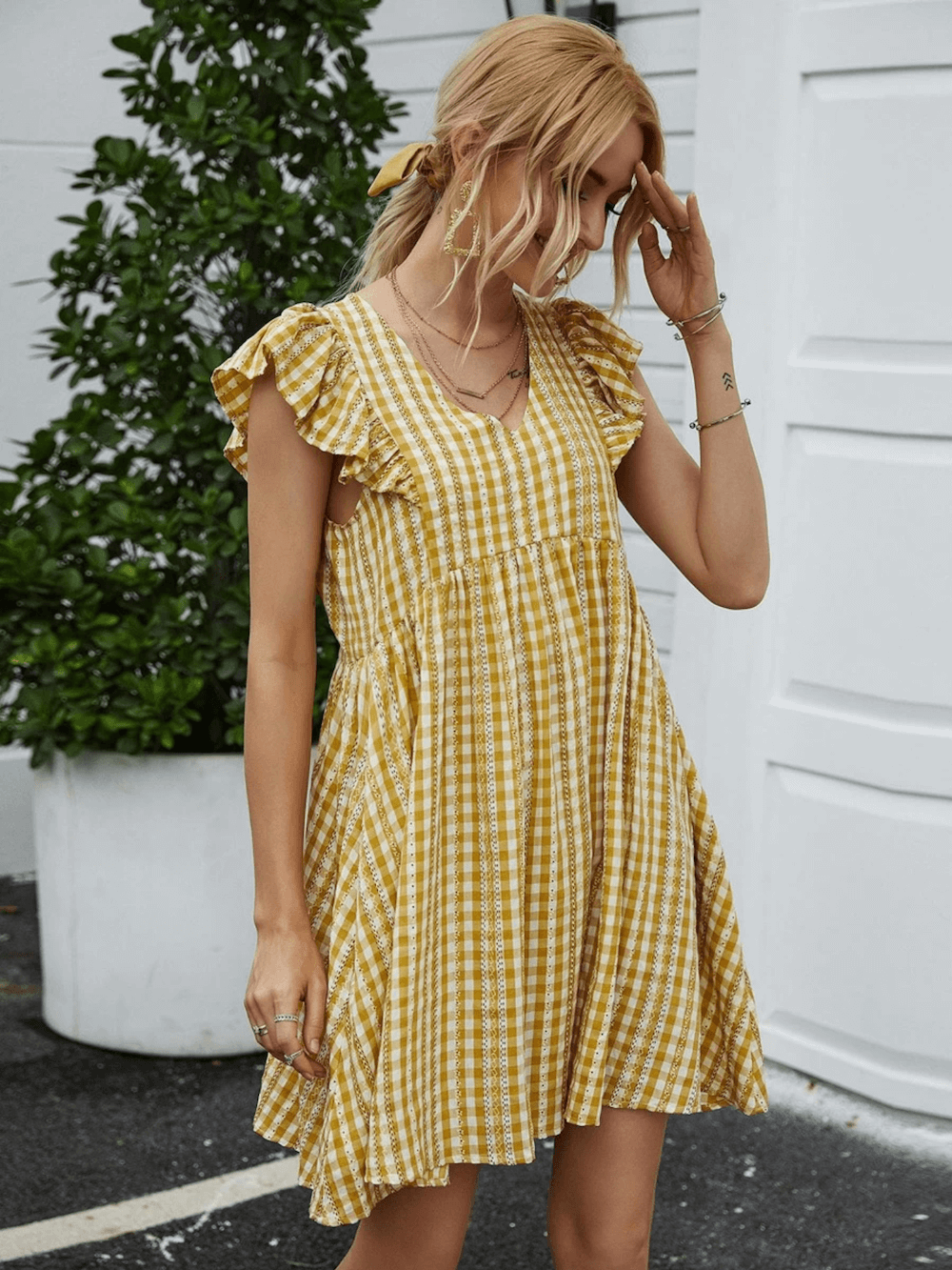 Summer Outfits Sundresses Beach Casual Yellow Gingham Striped Dress Shein 2