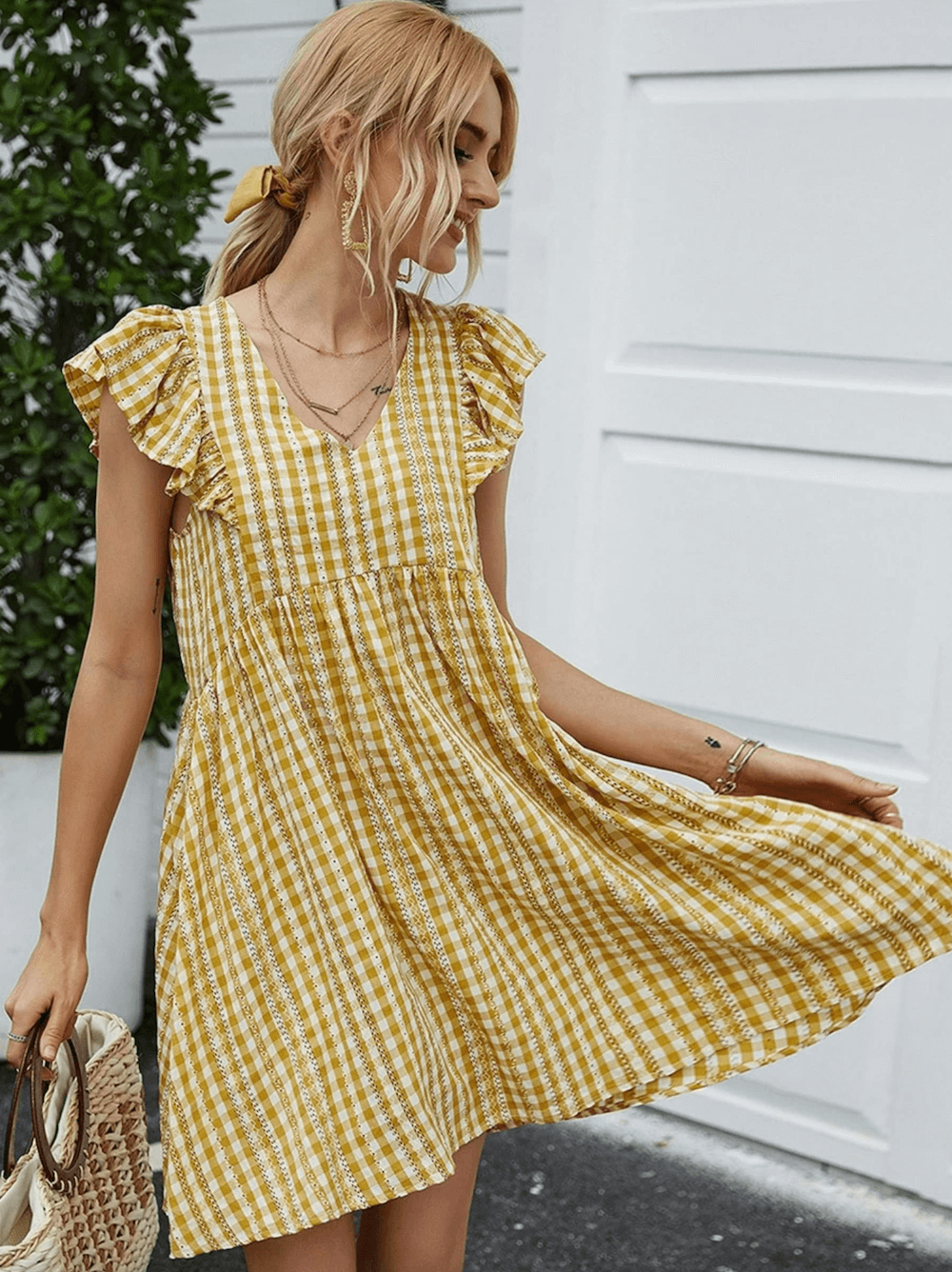 Summer Outfits Sundresses Beach Casual Yellow Gingham Striped Dress Shein